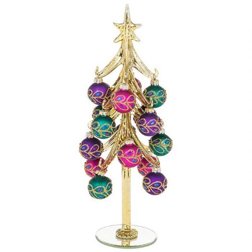 Extra Large Gold Glass Christmas Tree with Peacock Decorated Baubles